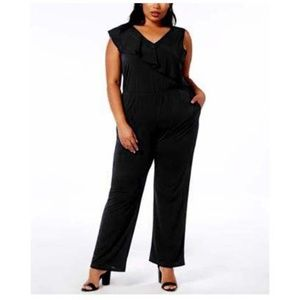NY Collection Petite Plus 1XP Ruffled Jumpsuit